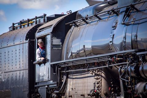 Ed Dickens behind the controls of No. 4014.