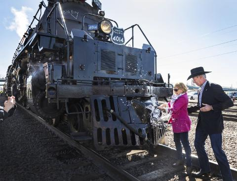 Union Pacific Chairman Lance Fritz and his wife, Julie, christen the Big Boy in Cheyenne, Wyoming, May 4.
