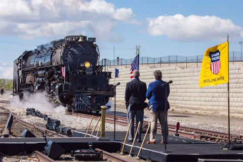 The Big Boy No. 4014 enters the staging area in Ogden May 9.