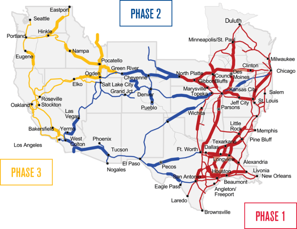 Phases of Precision Scheduled Railroading switch over route map.