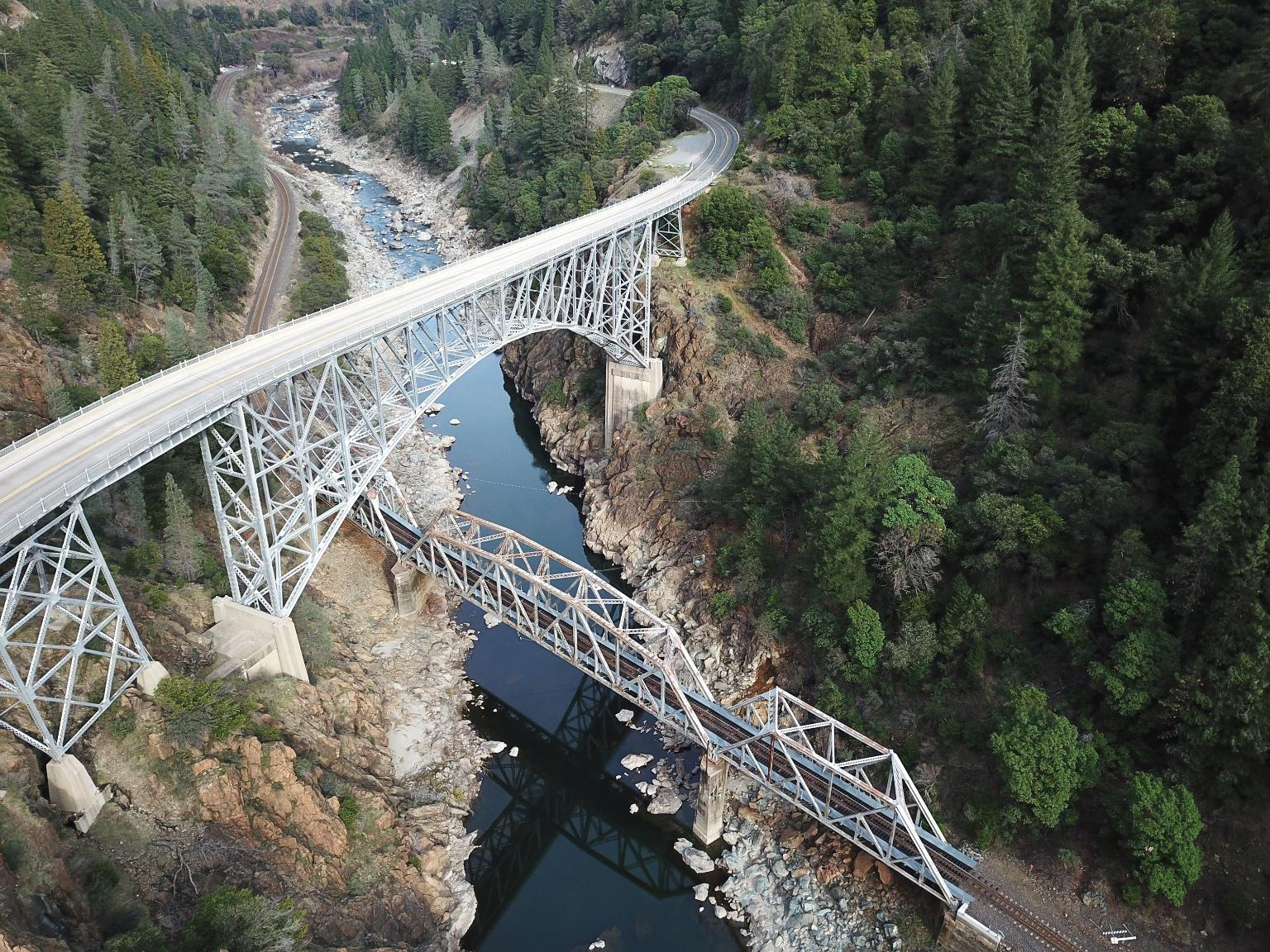 A Union Pacifc drone captured this image during a culvert inspection demonstration in Pulga, California.