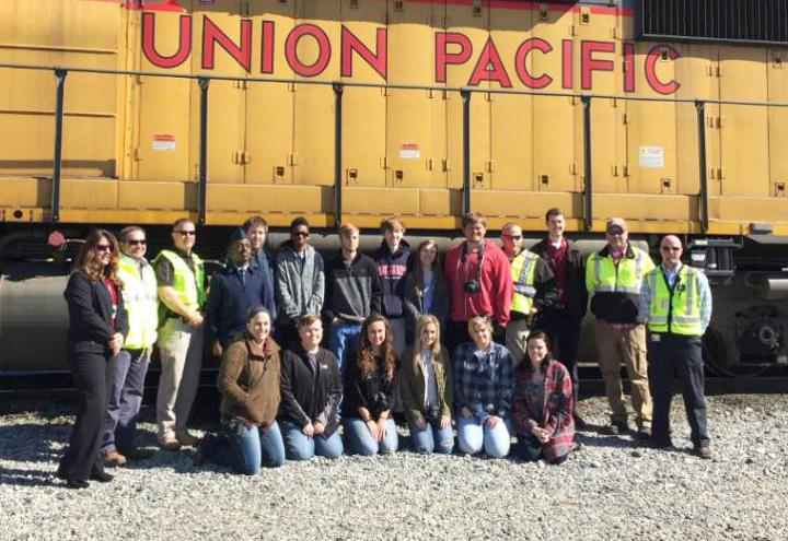 Texarkana, Arkansas, high school students learn about rail operations during a yard feld trip.
