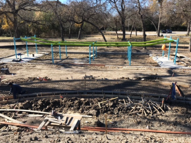Dream Park construction began in September with equipment installation, followed by rubber surfacing, sidewalk and fence work.
