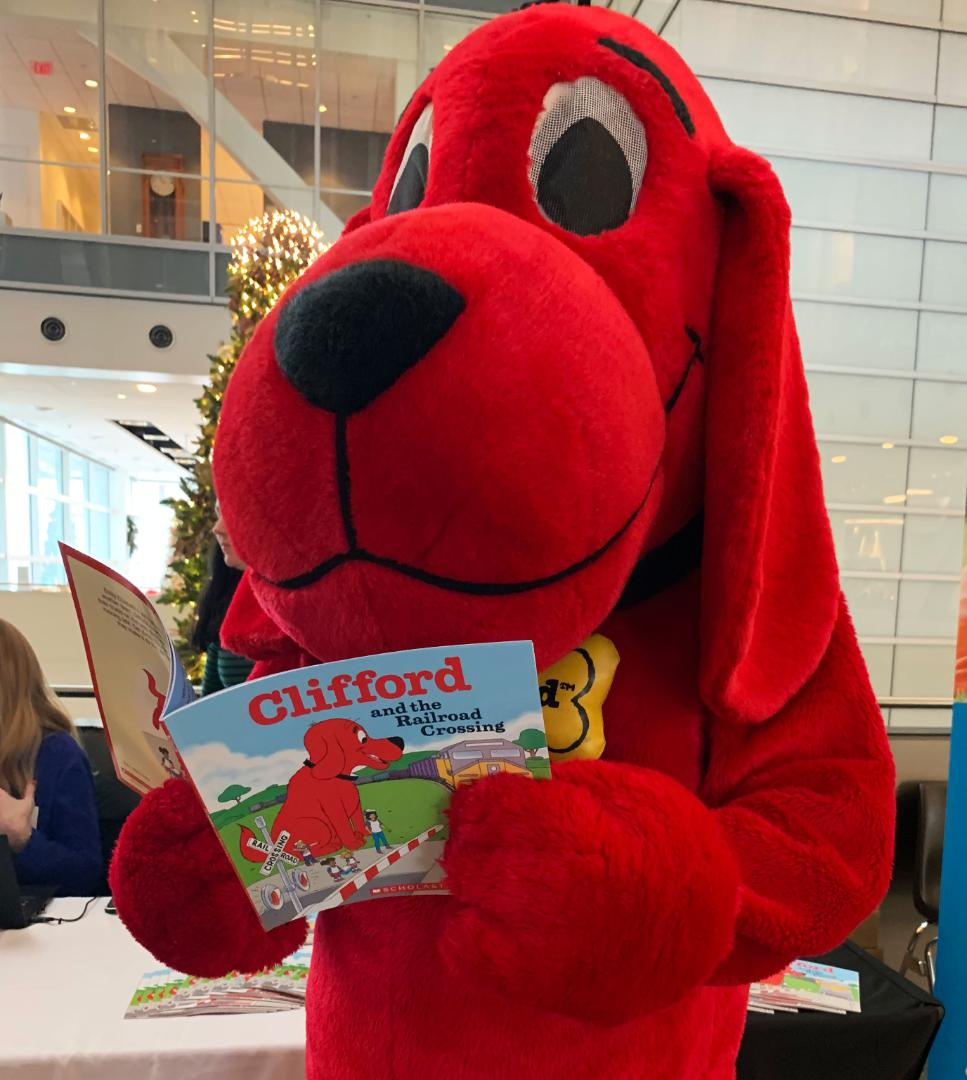 Clifford the Big Red Dog makes a special visit to Union Pacifc Center in Omaha, Nebraska, to launch his new book,