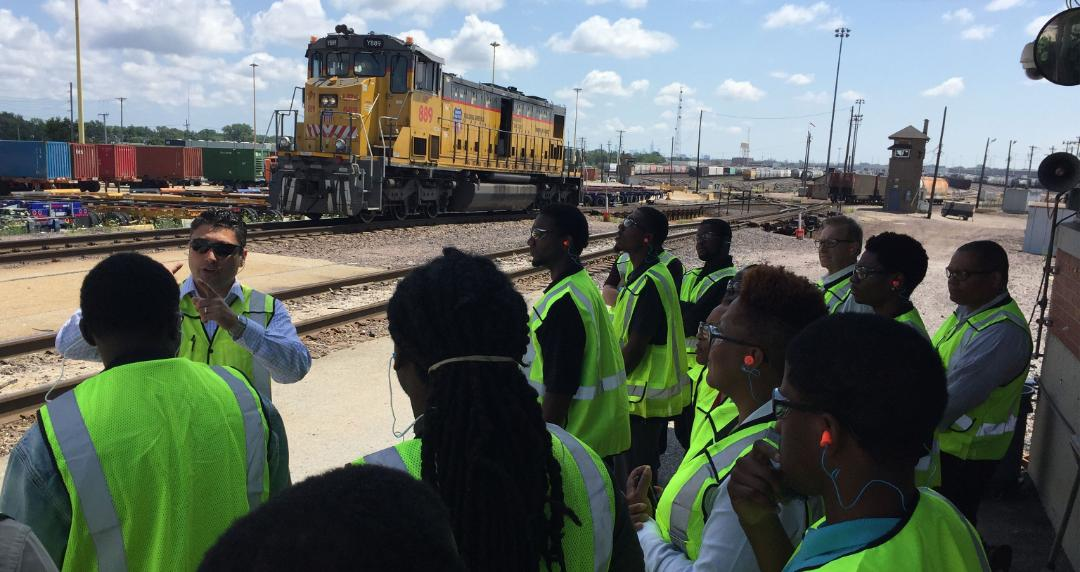 Opportunity Works interns tour a Union Pacifc yard to learn about day-to-day operations and various career opportunities.