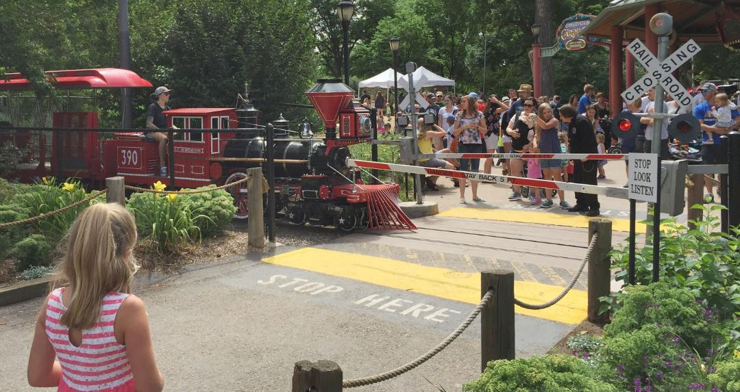 Visitors have a chance to practice safe habits around railroad tracks as they experience Denver Zoo's sights and sounds.
