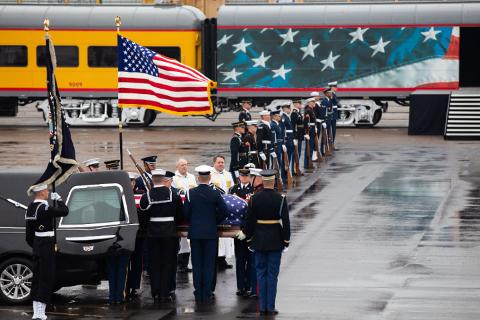 Small | President Bush's casket arrives at UP's Westfield Auto Facility