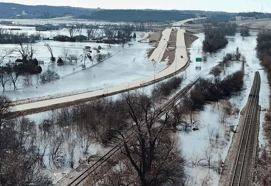 The Platte River bridge was submerged as a result of the 2019 flood.