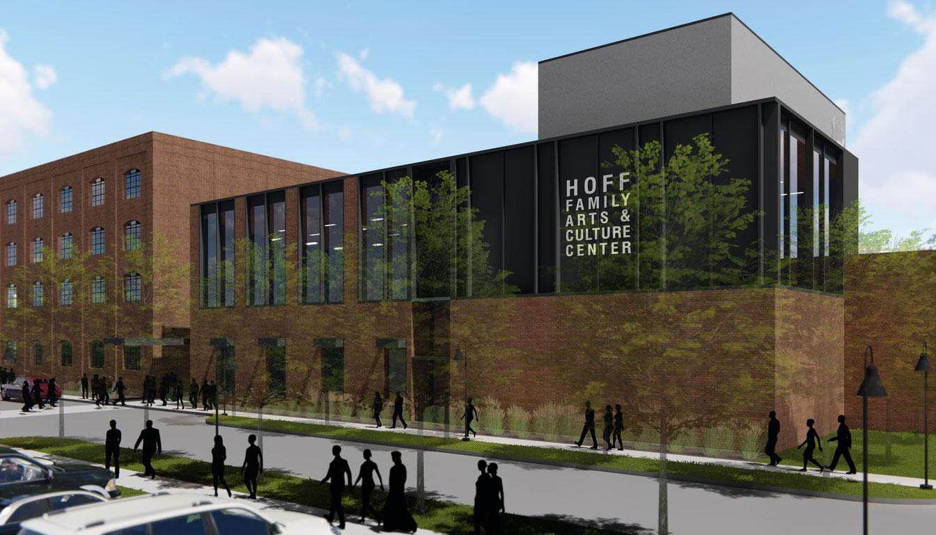 Large Retina | Exterior rendering of PACE Hoff Family Center