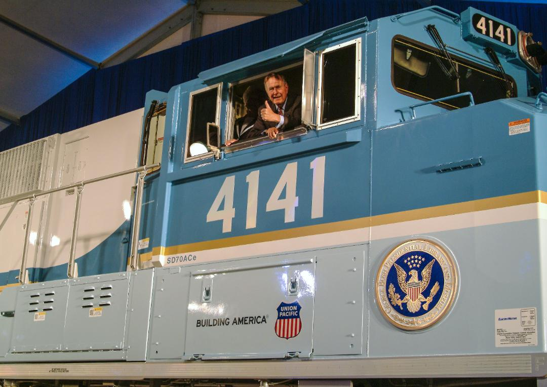 Medium Retina | George H.W. Bush in the cab of UP Locomotive No. 4141
