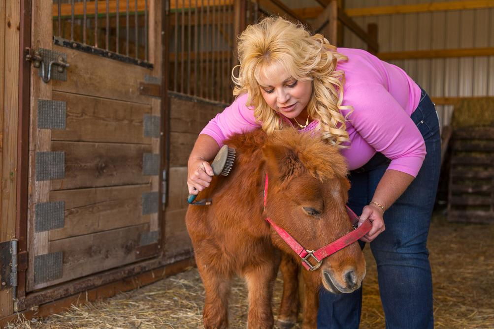 Suzan Caylen brushes a miniature horse.