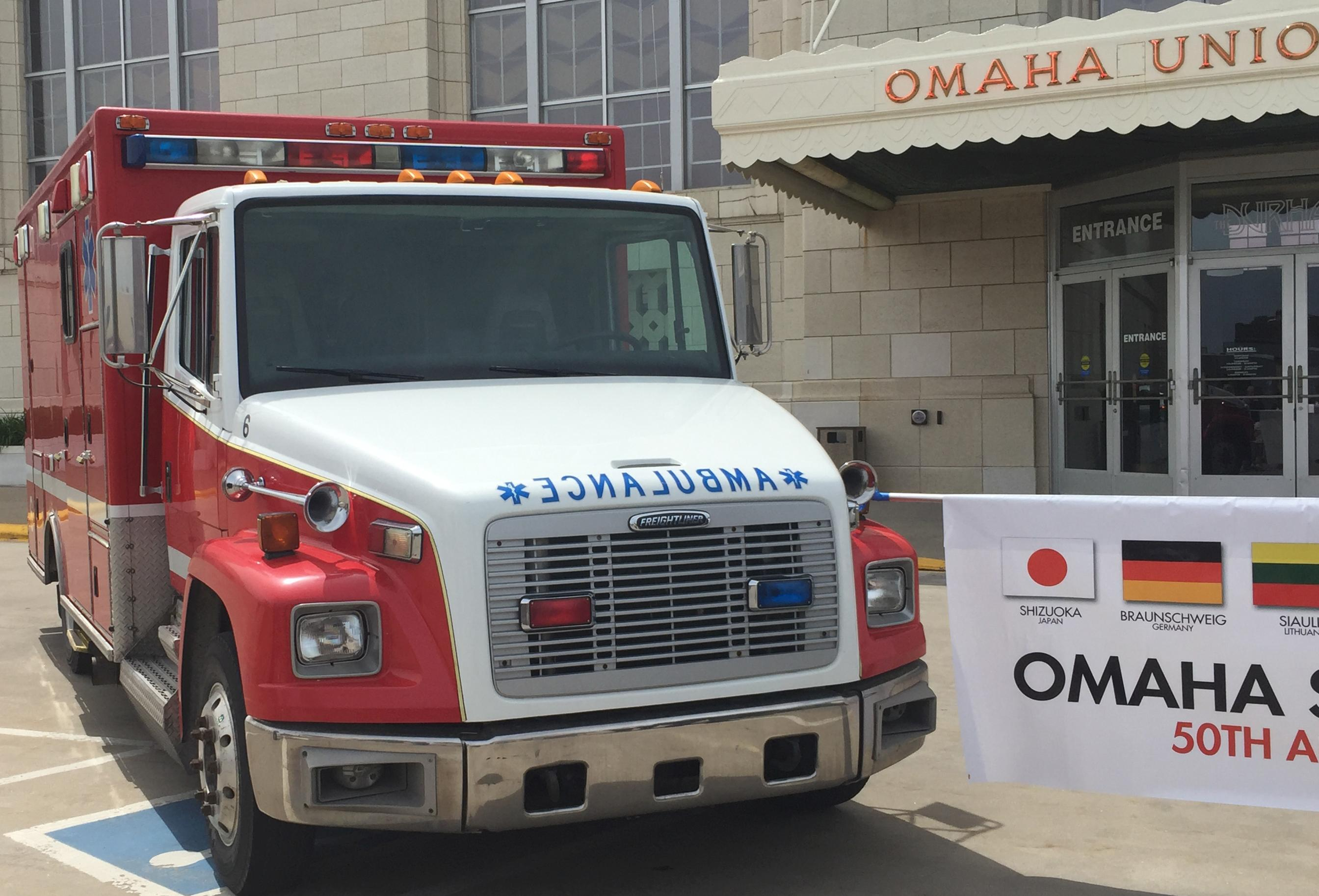 One of the four ambulances Omaha donated to Xalapa.