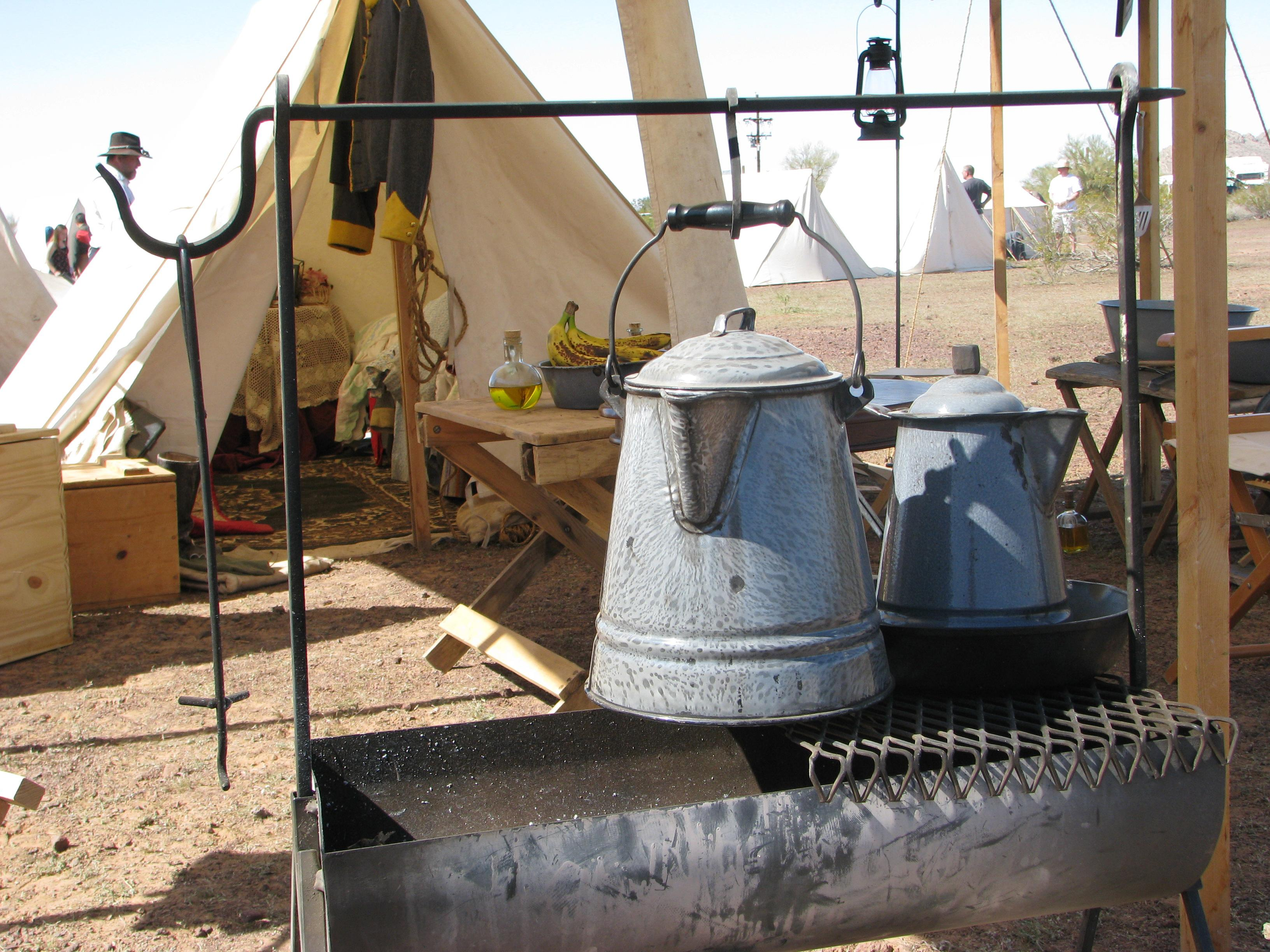 Coffee pots used at Picacho re-enactment